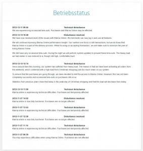 klarna.com Betriebsstatus